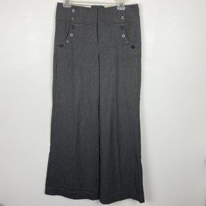 Anthropologie Wide Leg Grey Button Front Trousers
